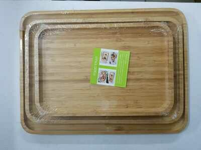 Bamboo charcuterie board food tray Rectangular SET OF 2 30X40cm and 24x36cm breakfast cheese board