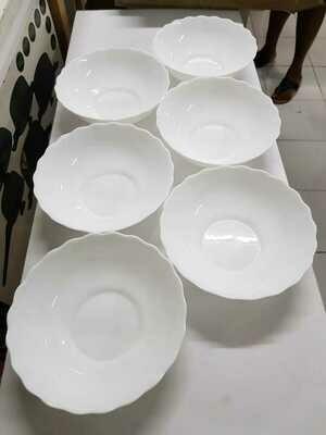 Set of 6 deep white opal bowls 8