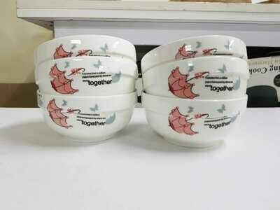 Set of 6 deep white opal bowls 4.8