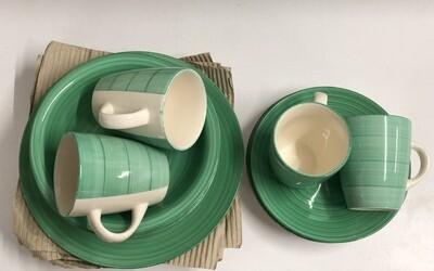 Ceramic dinner set 16 piece with 4bowls, 4sideplates, 4soup mug, 4dinner plates 60