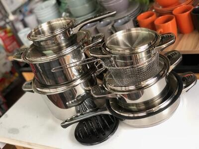 signature 18pc Cookware Set stainless steel body (cs18-1)
