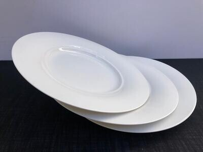 Elegant White Porcelain Dinner Plates Set of 4, Salad Plates Serving Plates for Restaurant, Kitchen and Family Party Use, Lunch Plates Microwave & Dishwasher Safe -A21