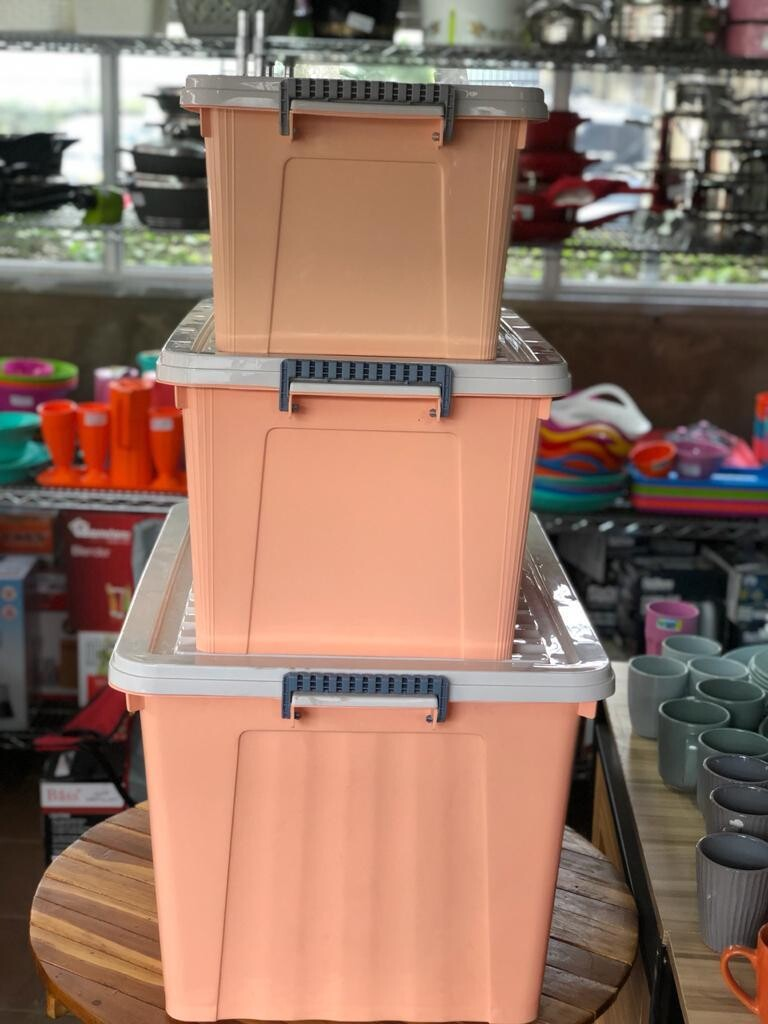 Storage Set with Lid, grey Latching/handle, with wheels