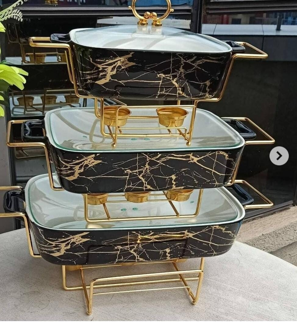 Serving dishes 3pcs black with gold rim