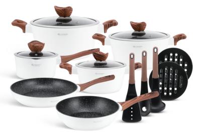Edenberg Non Stick Cookware set/sufuria with kitchen tools 15pcs EB-5622 White Color