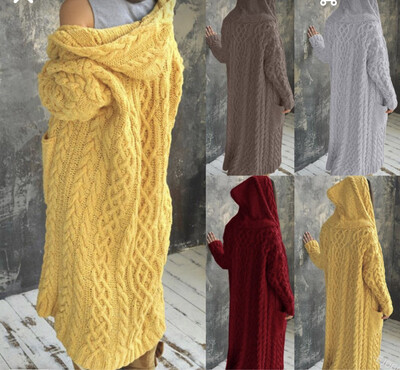 EW Oversized Long Knitwear With Hoodie/sweater dress knitted to wear with boots