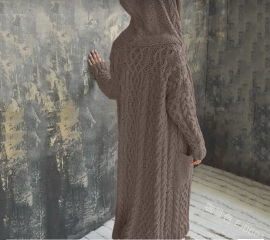 EW Oversized Long Knitwear With Hoodie/sweater