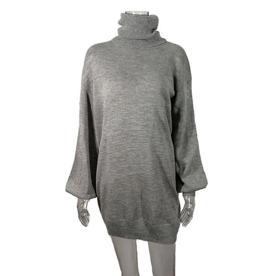 EW knitwear turtleneck Long Sleeve . Knitted sexy sweater dress