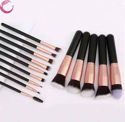 Professional Make Up Brushes-foundation Brushes 14 Pieces-with Black Leather Casing
