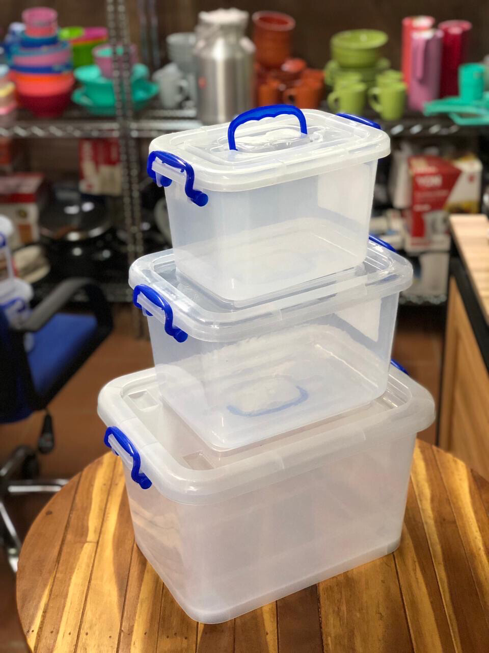 Clear Plastic Storage Organiser Set Of 3 25L,13L,7L