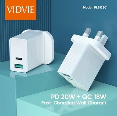 VIDVIE TYPE C PD & QC 3.0 USB charger WAC25