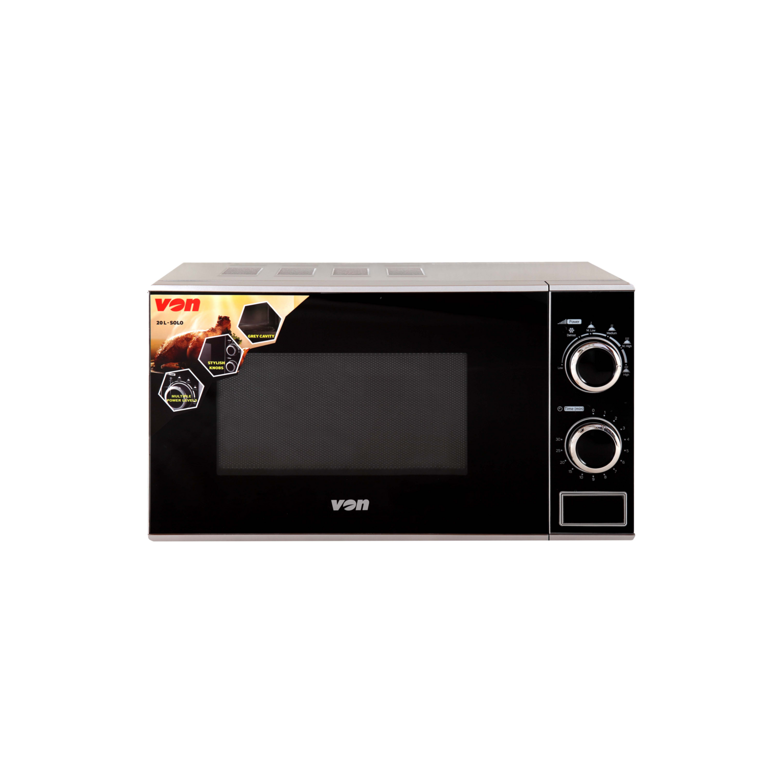 VON Hotpoint VAMS-20MGS Microwave Oven, Solo, 20L Mechanical - Silver