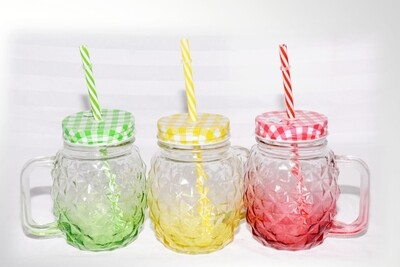 Mason jars set of 3 with straws