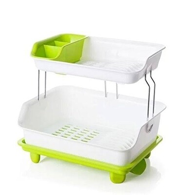 Colorful plastic dish rack with draining board