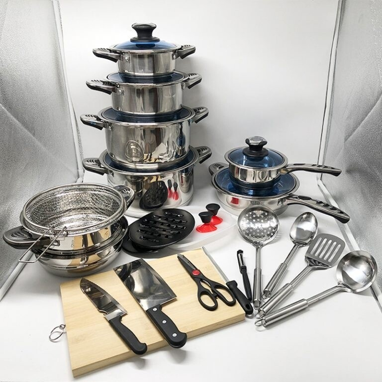 Marwa 30pcs heavy stainless steel cookware set