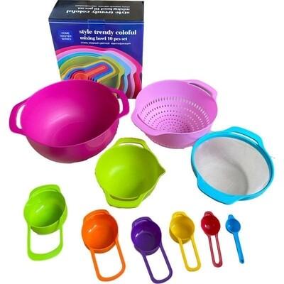 10 in one measuring bowl, sieve, collander, measuring cups