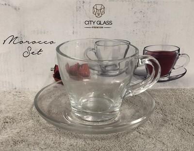 City glass 6pcs glass cup and saucer set