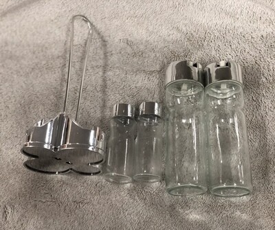 Sauces spices jars set glass on plastic holder silver coated