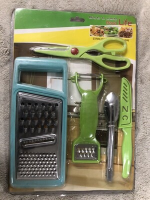 Stainless steel kitchen set 6ps grater peeler tongs scissors knive