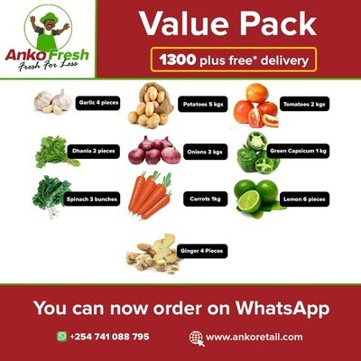 Everyday Vegetables value pack has ginger, potatoes, carrots, tomatoes spinach, capsicum, onion, lemon, garlic