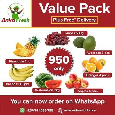 Everyday,  Fruit Basket: Bananas Grapes, Pineapple, Avocado, Oranges, Apples, Water Melon.