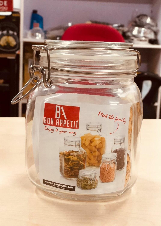 Bon Appetit Glass Clip Jar 1L with Clip lock Allows jar to stay airtight