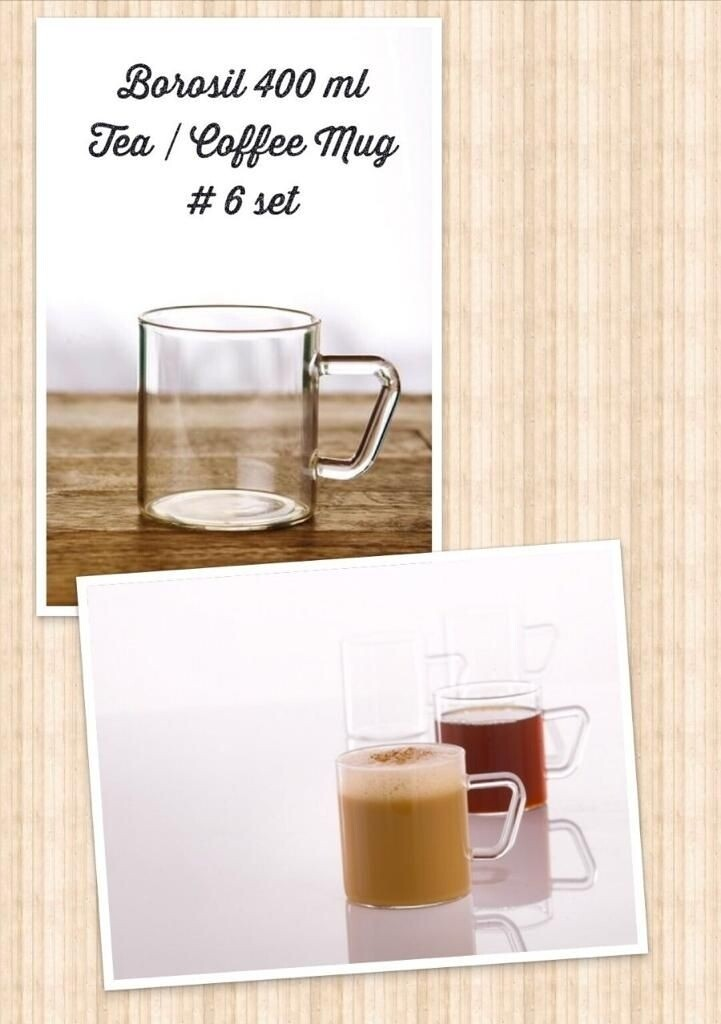 Heat resistant high borosilicate glassware 400ml Tea/Coffee mugs 6pcs set
