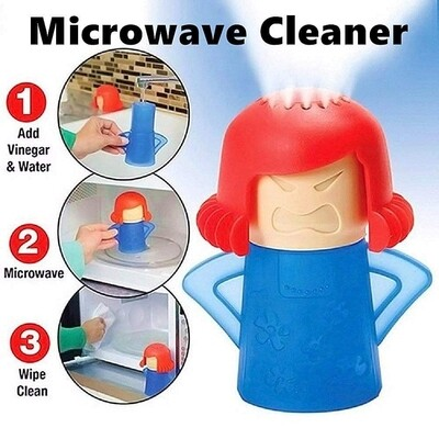 Angry woman microwave cleaner