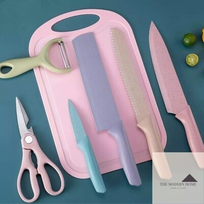 Evcriverh 7pc Corrugated multicolored kitchen knife set with chopping board