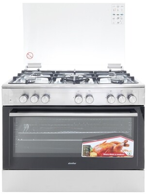 Simfer 9507WEI 5 Gas Professional Cooker, Multifunctional Electric Oven - Half Inox