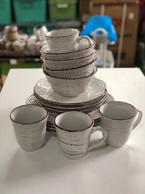 Ceramic dinner set 16 piece with 4bowls,4sideplates, 4mugs, 4dinner plates K72