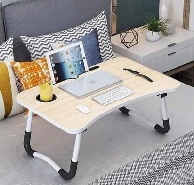Multi-purpose foldable portable laptop desk with cup slot + tablet slot Colours: brown &white (wooden profile) Size 60/40/28cm
