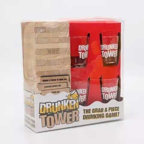 Drunken tower Jenga game. Comes with 4 glasses