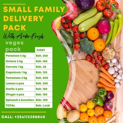 Small family vegetables pack serves family of 6 for 1 week