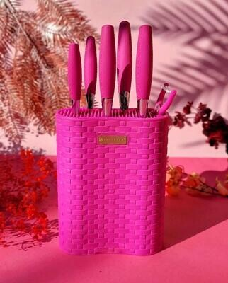 Edenberge 7pcs Knife Set with Rubber Stand & Rubber Handle In 3 Colors : Yellow, Pink, White + COLOURED BLADE EB-11025