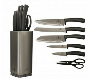 Edenberg 7pcs Knife Set with Black Rubber Handle, SS Stand & Blade In Matching Color Grey EB-11026