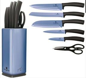 Edenberg 7pcs Knife Set with SS Stand & Blade In 3 Colors : Blue, Red, DK.Green EB-11027