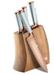 Edenberg 7pcs Knife Set with Titanium Blade, Acacia Wooden Block, SS w/Rubber Handle In Color LT.Blue EB-11029