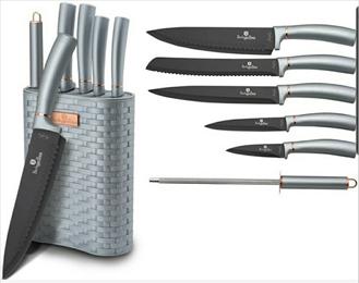 Edenberg 7pcs Knife Set with Rubber Handle & Block In 3 Colors : LT. Blue, DK. Blue, DK.Green + BLACK BLADE EB-11028