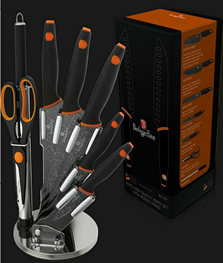 Edenberg 9pcs Knife Set with Acrylic Stand, Rubber Handle In 2 Colors : Grey w/Black Logo, Black w/Orange LogoEB-11063