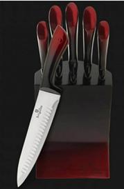 Edenberg 6pcs Knife Set, SS Stand/SS Handle 3 2-Tone Colors : Red/Black, Grey/Black, Green/Black EB-11003