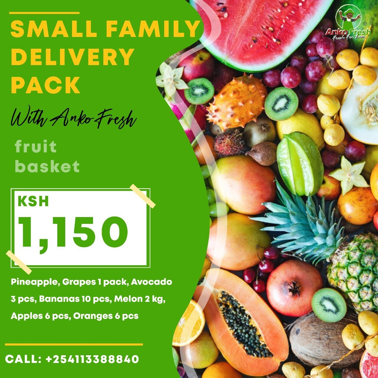 Small family fruits pack serves family of 6 for 1 week . choose extra portions plus wine gin