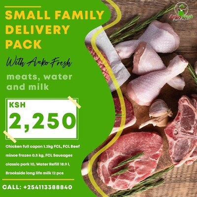Small family meats sausages, water, & milk pack serves family of 6 for 1 week . Follow link to Choose extra wine, gin, meats, milk etc