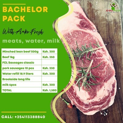 Single person, bachelors meats, water, milk and sausages pack for 1 week . Choose extras alcohol meats, wine, gin etc.