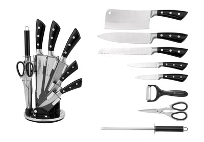 Edenberg 9pcs Knife Set with Acrylic Stand, Rubber Handle w/3 Dots In 3 Solid Colors : Black, Red, Grey EB-3619