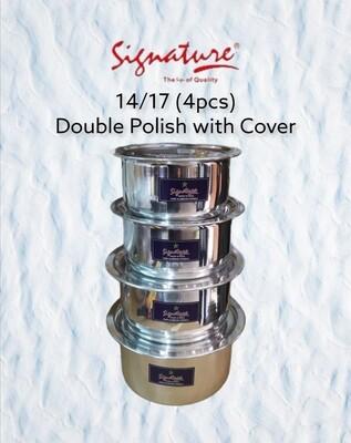 Signature extra heavy duty aluminum sufurias double polish & cover   4pcs set (size14,15,16,17)