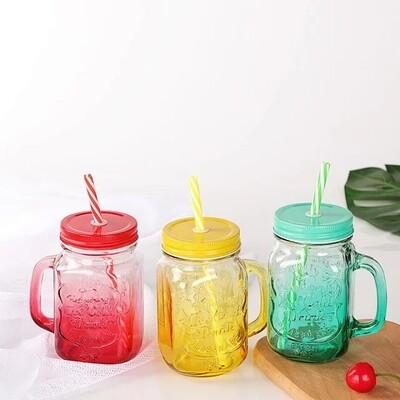 Mason jars set of 3 500ml with drinking straw NEW ARRIVAL