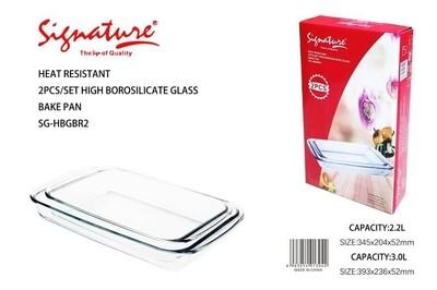 Signature high borosilicate glassware 2pcs rectangle bake pan 2.2L & 3L Sg-HBG BR2