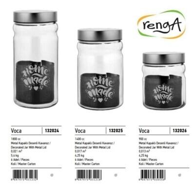 Renga plastic kitchen jar with silver lid 1400ml