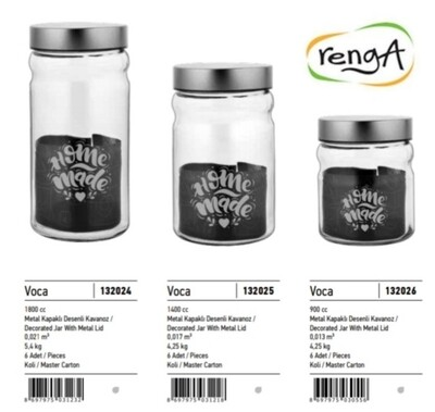 Renga plastic kitchen jar with silver lid 900ml